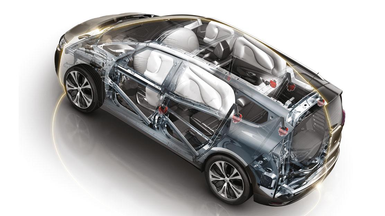 Airbags de cortina (dianteiro e traseiro) para protecção da cabeça num embate lateral