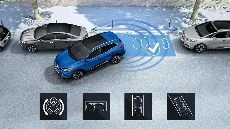 Félautomata parkolóasszisztens első, hátsó és oldalsó radarokkal, tolatókamerával