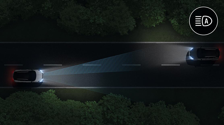 Comutação automática das luzes estrada/cruzamento