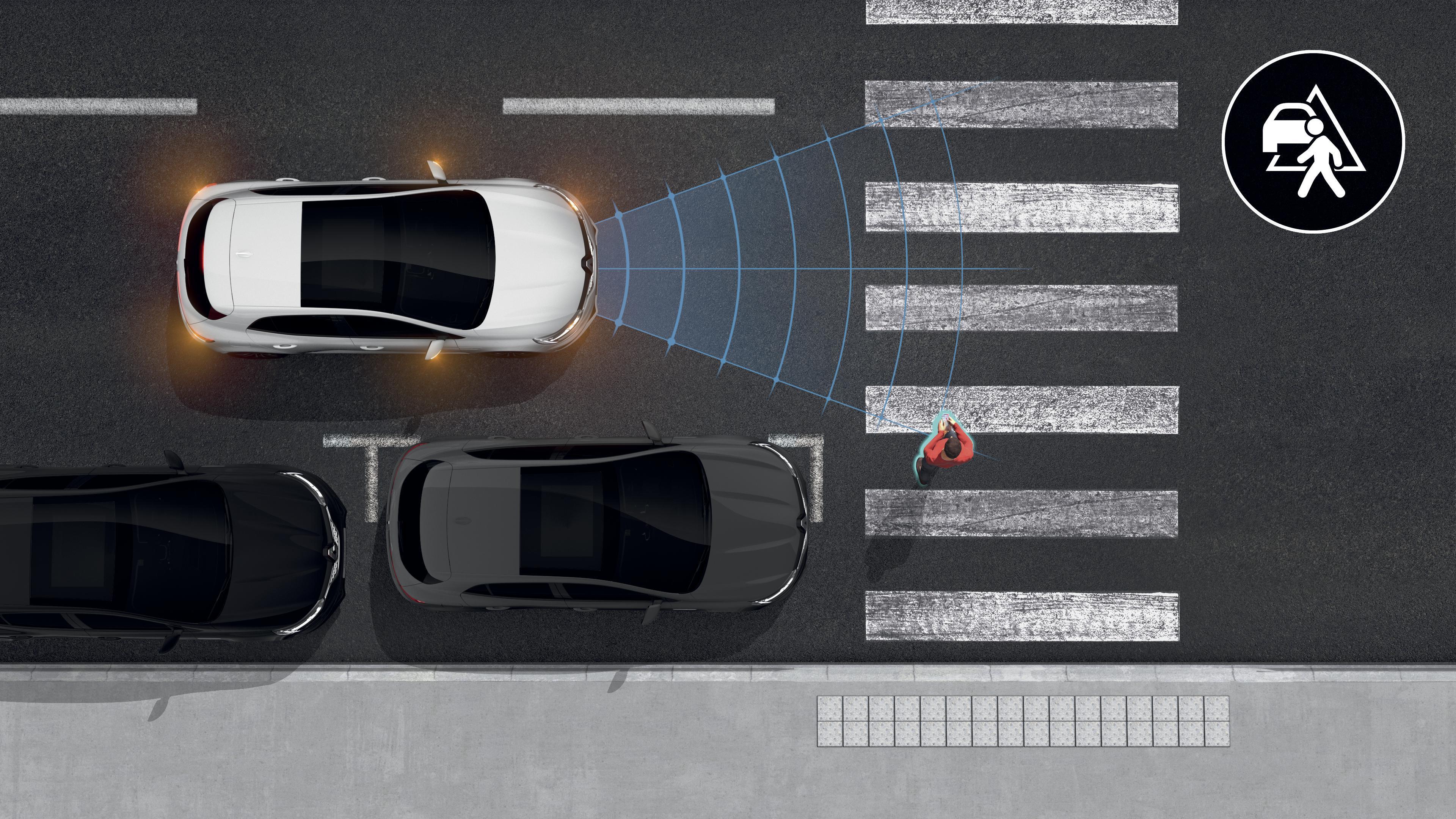 aktywny system wspomagania hamowania z funkcją wykrywania pieszych