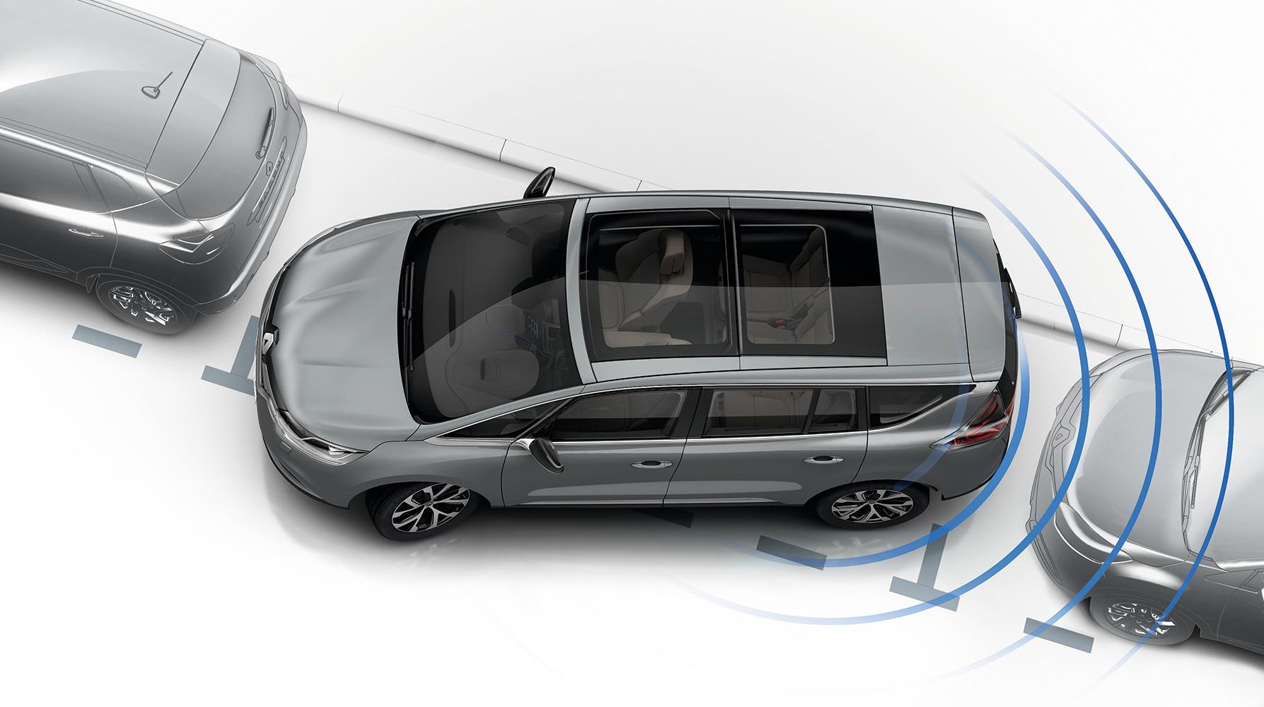 Parkeersensoren vóór en achter met optische en sonische weergave