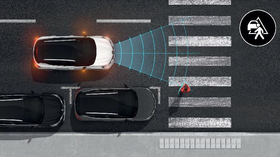 Active Emergency Braking System met voetgangers- en fietsersdetectie