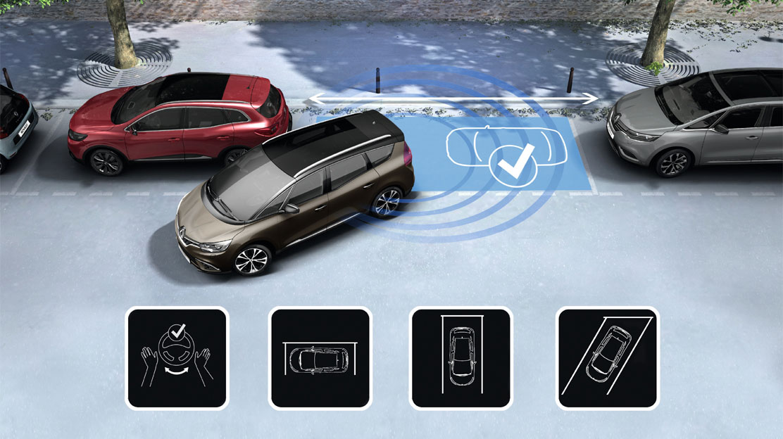 Einparkhilfe vorne, hinten & seitlich mit Rückfahrkamera und Handsfree Parking