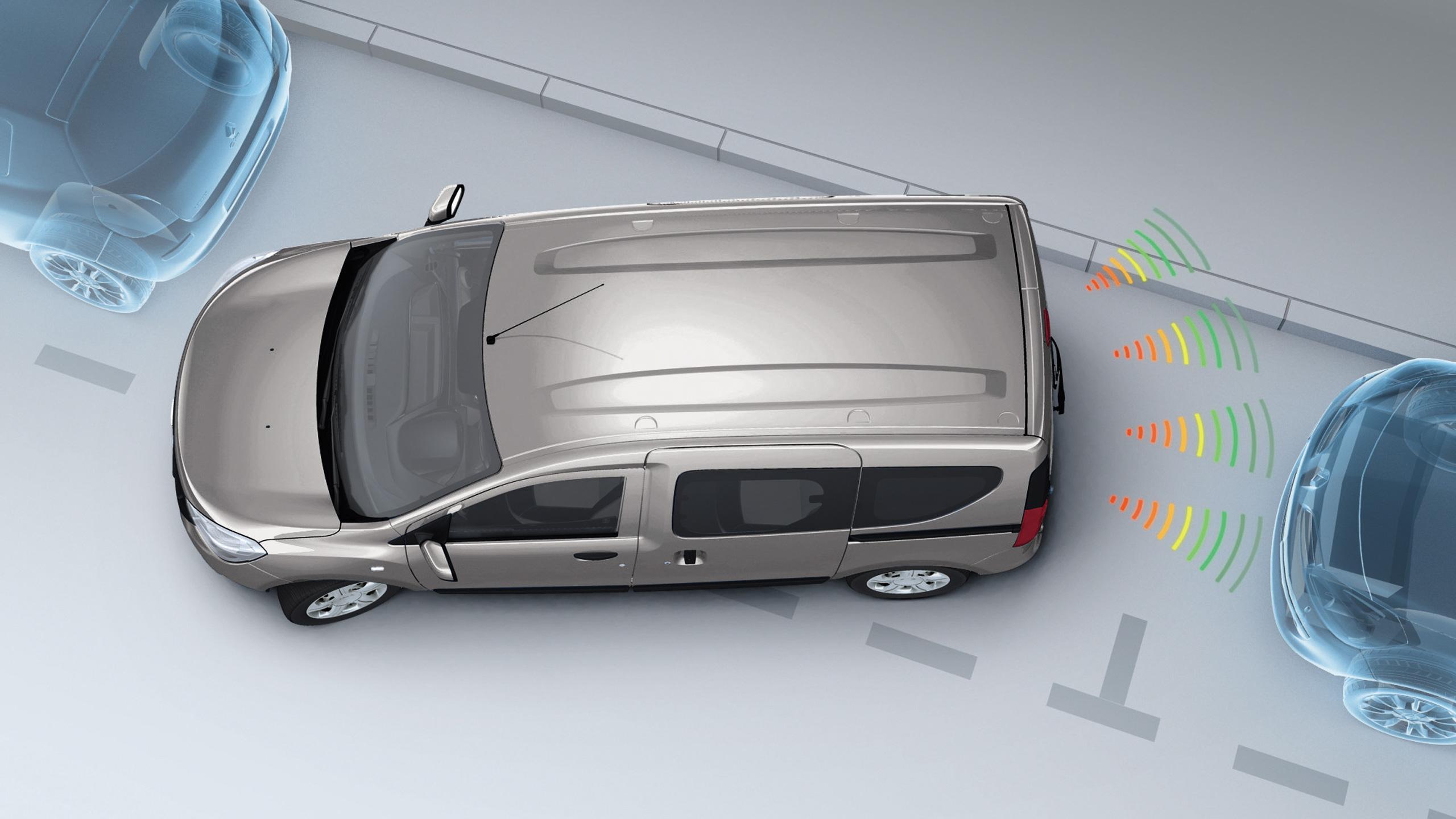 Parkeersensoren in de achterbumper met sonische weergave