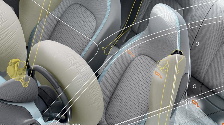 Airbags frontaux et latéraux (tête-thorax) conducteur et passager