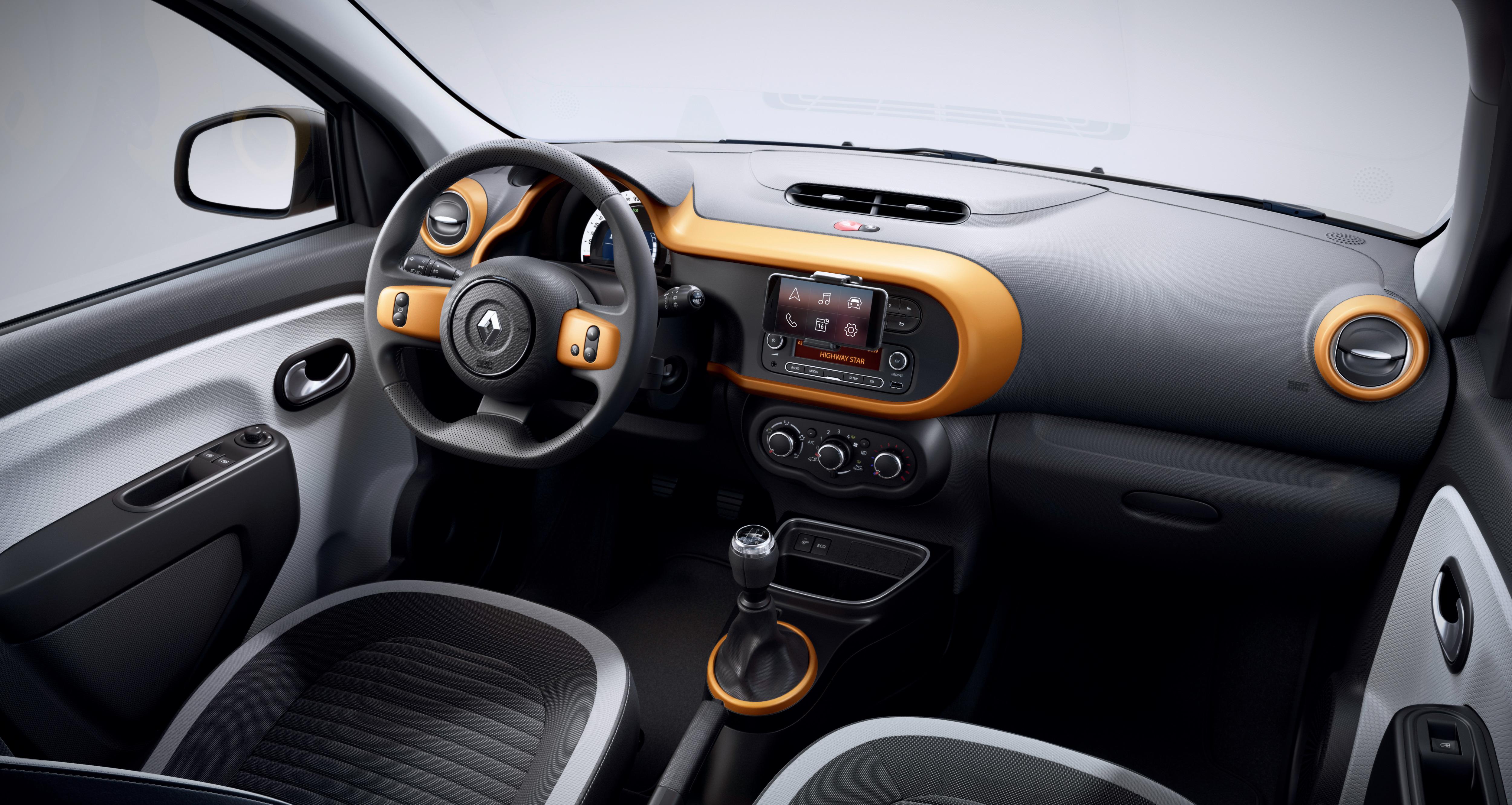 Dekorelemente Interieur (Luftauslässe, Einsatz am Lenkrad und Umrandung des Amaturenbretts) mango
