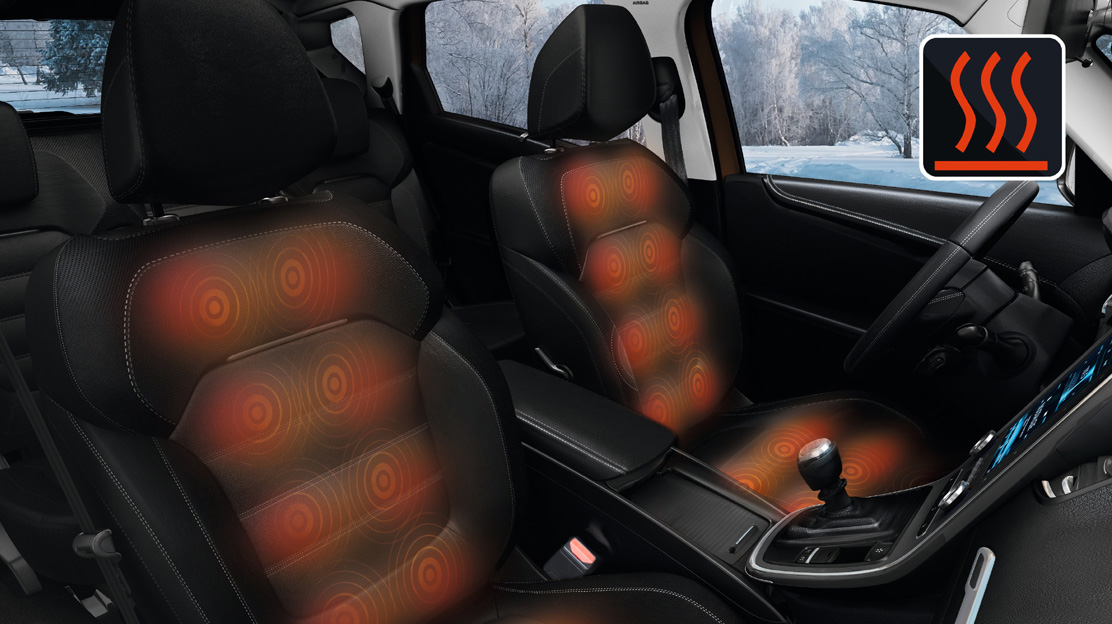 Heated front seats (only available with Leather upholstery)