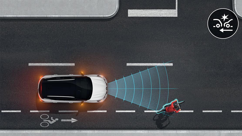 Sistema de travagem de emergência ativa com deteção de peões e ciclistas