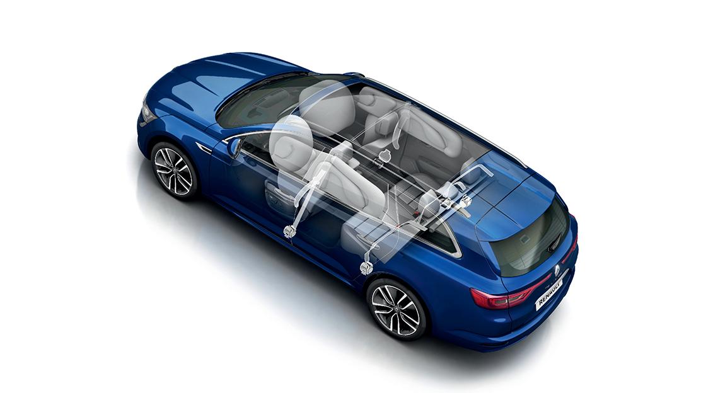 Airbags de cortina (dianteiro e traseiro) para protecção de cabeça/tórax num embate lateral