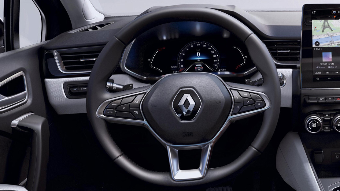 Soft touch steering wheel with chrome deco