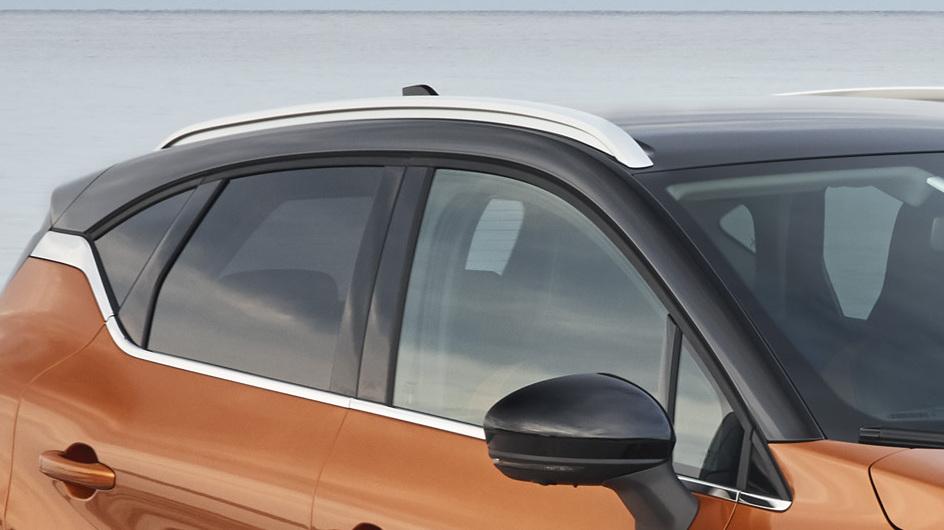 Dakrails in lengterichting geplaatst in aluminiumkleur met satijnglans