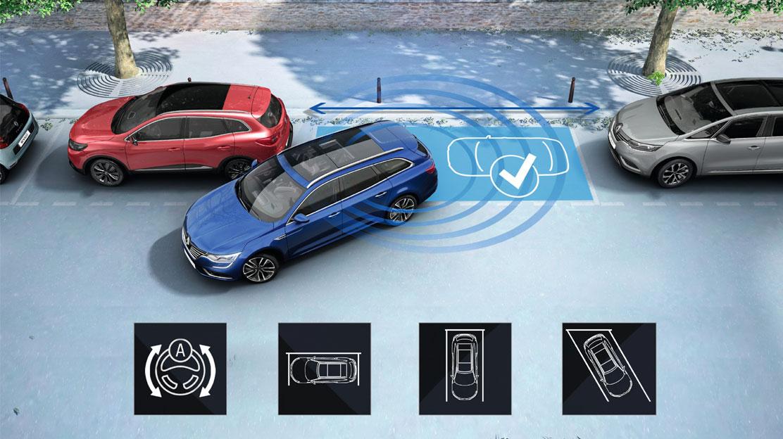 Ayuda al aparcamiento delantera, trasera y lateral + cámara de visión trasera + Easy park assist