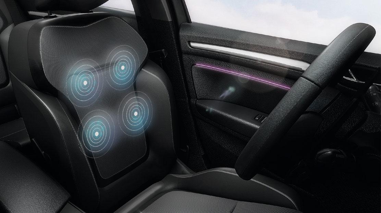 Fahrersitz mit Massagefunktion, Beifahrersitz in der Höhe verstellbar und umklappbar