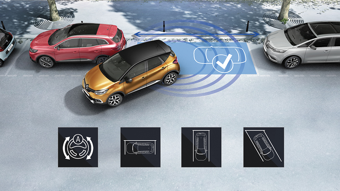Front, side and rear parking sensors and reverse parking camera