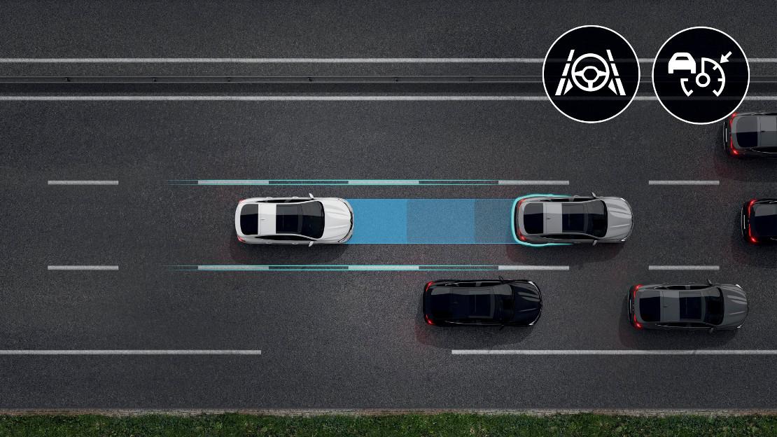 Assistant autoroute et trafic avec centralisation dans sa voie de circulation