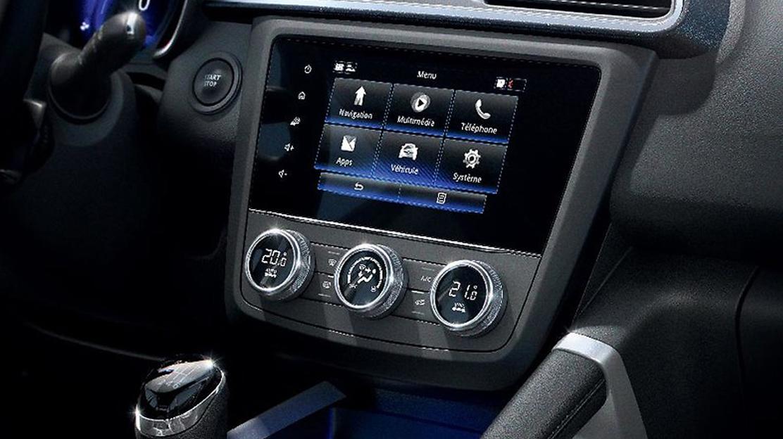 """Sistem multimedia Renault R-Link 2:  Ecran tactil multitouch 7""""(18 cm); Navigatie tip Birdview (2,5D"""