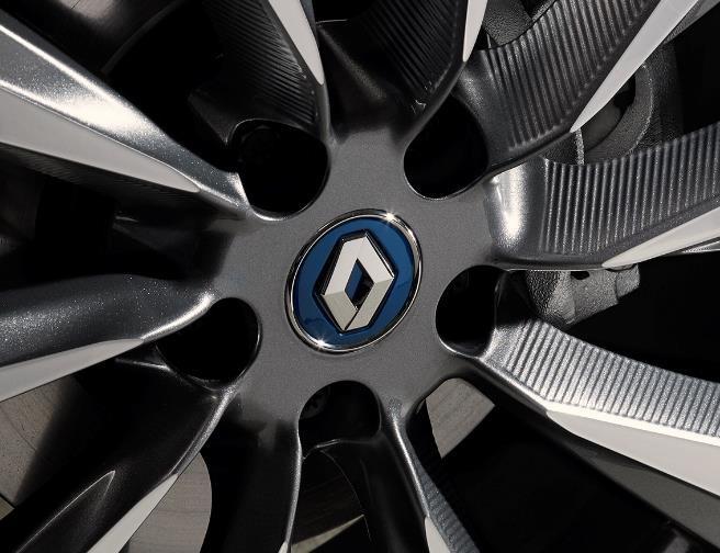 Renault Nabenkappe in Eisenblau mit Chromeinfassung