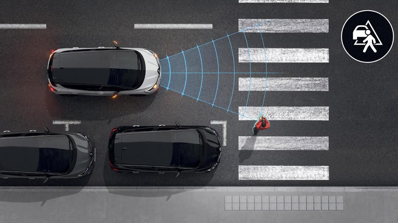 Aide au freinage actif d'urgence avec détection piétons (AEBS City + Inter Urbain + Piéton)