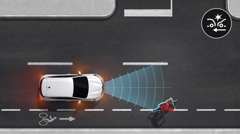 Sistema de travagem de emergência ativa com deteção de peões/ciclistas