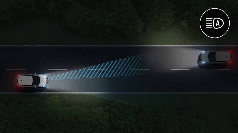 funkcja automatycznej zmiany świateł drogowych na mijania