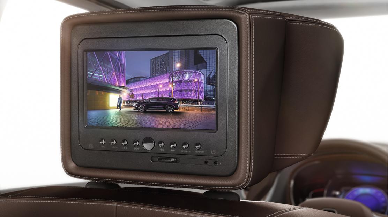 DVD-systeem incl 2 breedbeeldschermen geïntegreerd in de hoofdsteunen vóór met 2 afstandsbedieningen