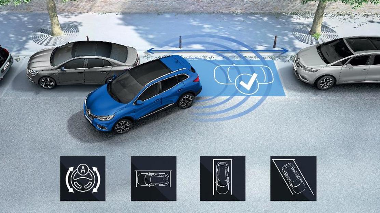 Parkeersensoren achter met optische en sonische weergave