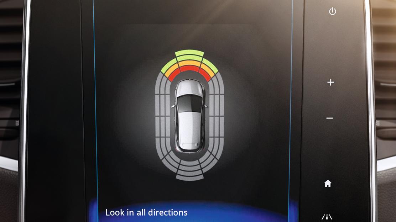 Parkeersensoren zijkant met optische en sonische weergave
