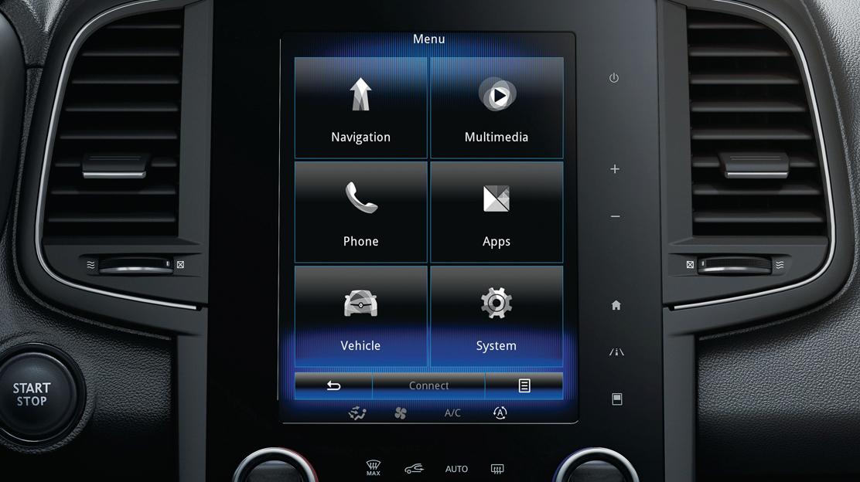 """R-LINK 2 conectado, con pantalla táctil de 22,1cm (8,7""""), sistema multimedia y Navegación Tom Tom."""
