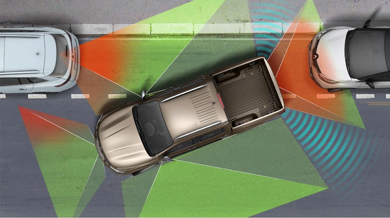 Vision 360° con 4 telecamere (retrovisori esterni, paraurti anteriore e sponda posteriore)