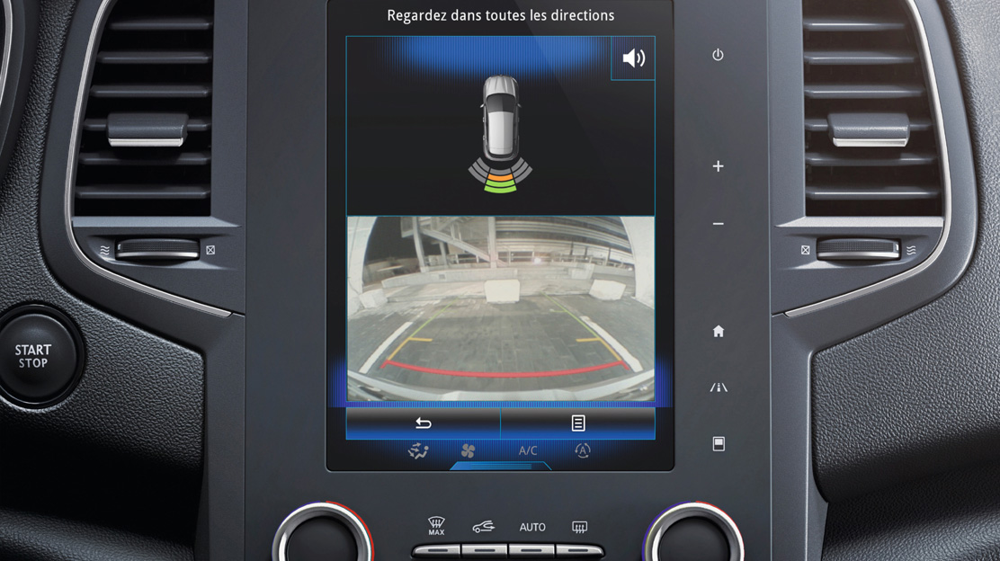 Rear parking camera with front and rear parking sensors