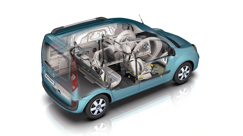 Boční airbagy vpředu a záclonové airbagy vpředu a vzadu