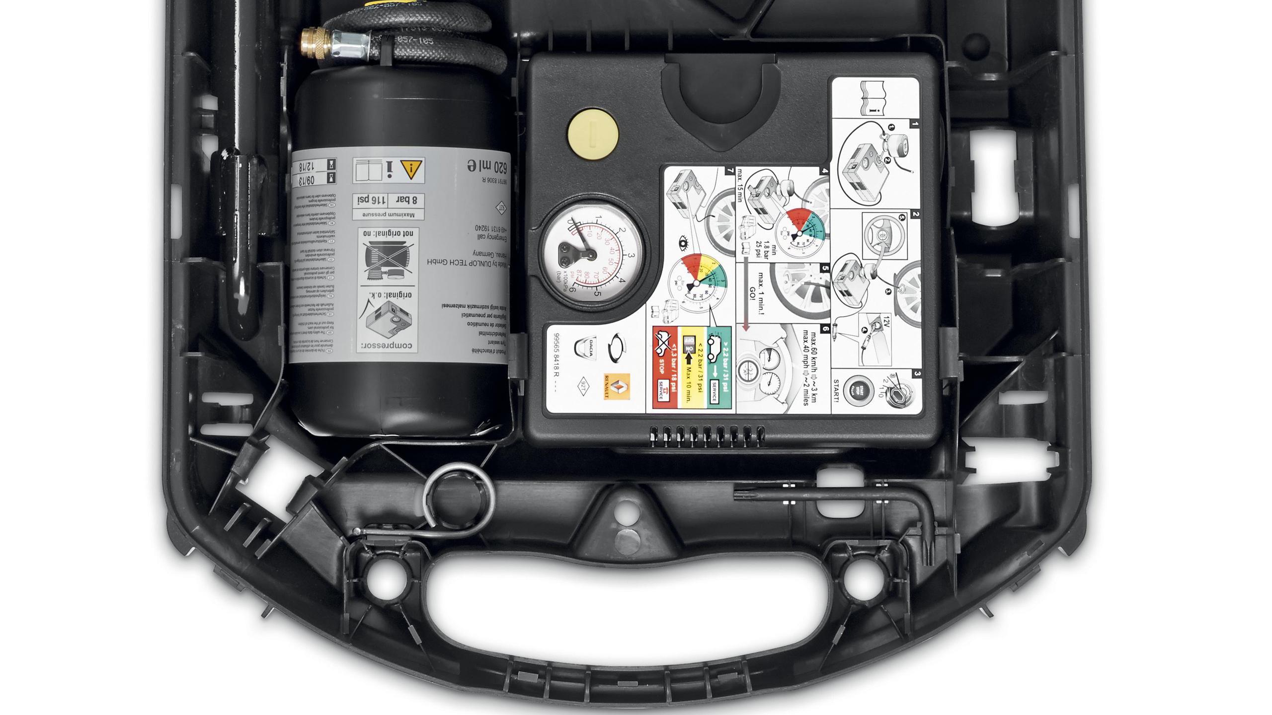 Mobilitäts-Set: Reifendichtmittel, 12-V-Kompressor