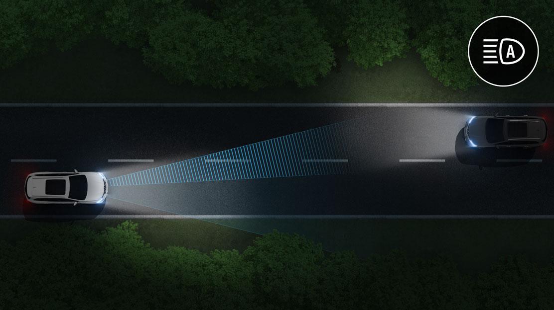 Comutação automática de luzes estrada/cruzamento