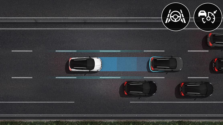 Sistema de assistência na condução em autoestrada e trânsito-implica Regulador velocidade adaptativo
