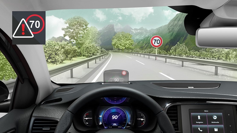 Alerta de excesso de velocidade c/reconhecimento de sinais de trânsito-implica Alerta transpos.faixa