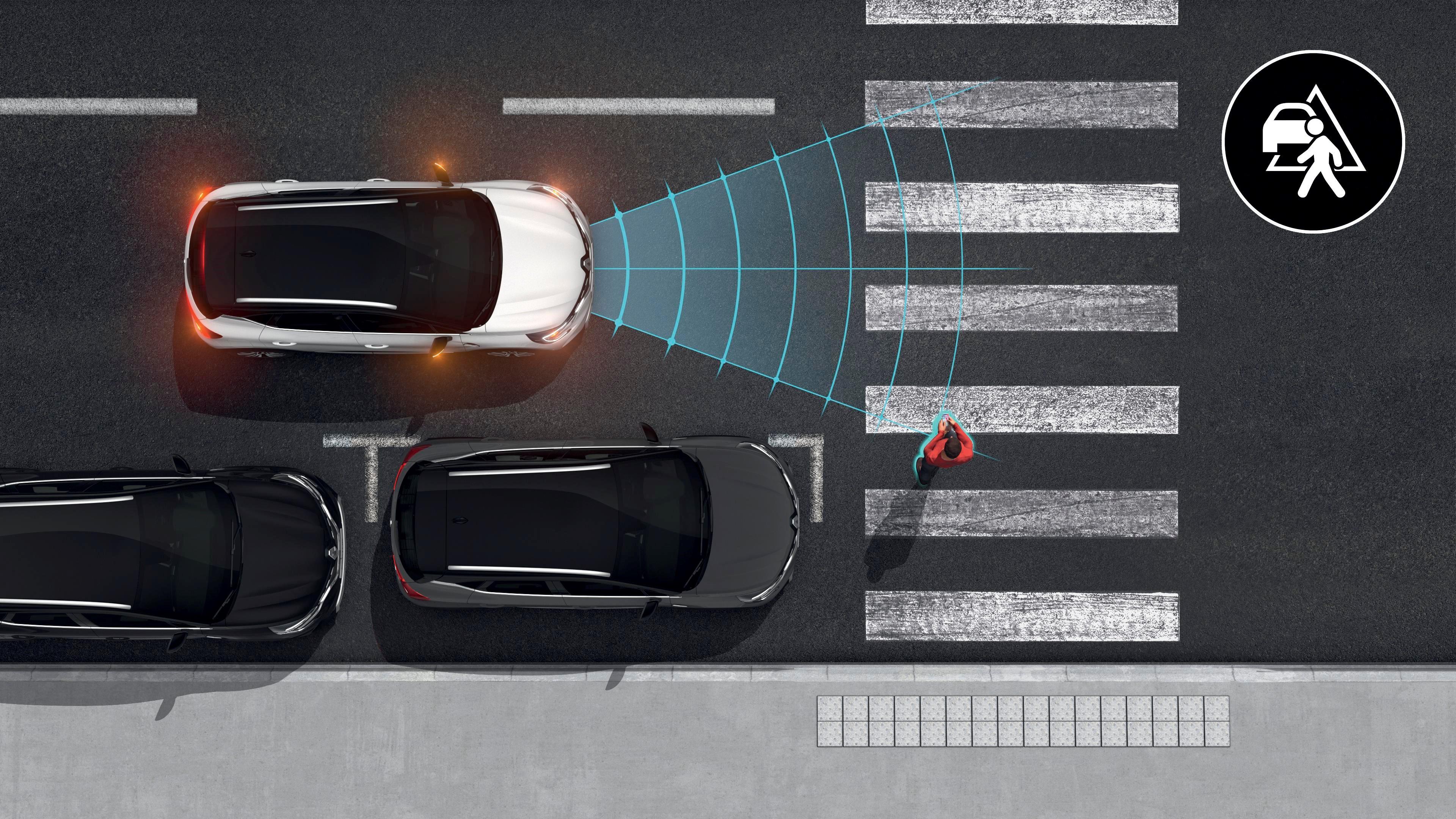aktywny system wspomagania hamowania z funkcją wykrywania pieszych i rowerzystów